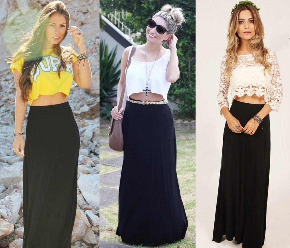20b5311f4d mulheres vestindo saia longa preta com cropped