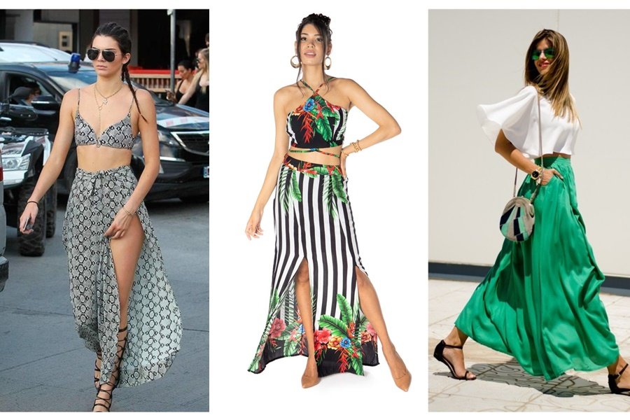 mulheres vestindo saia longa com cropped conjunto e de outra cor