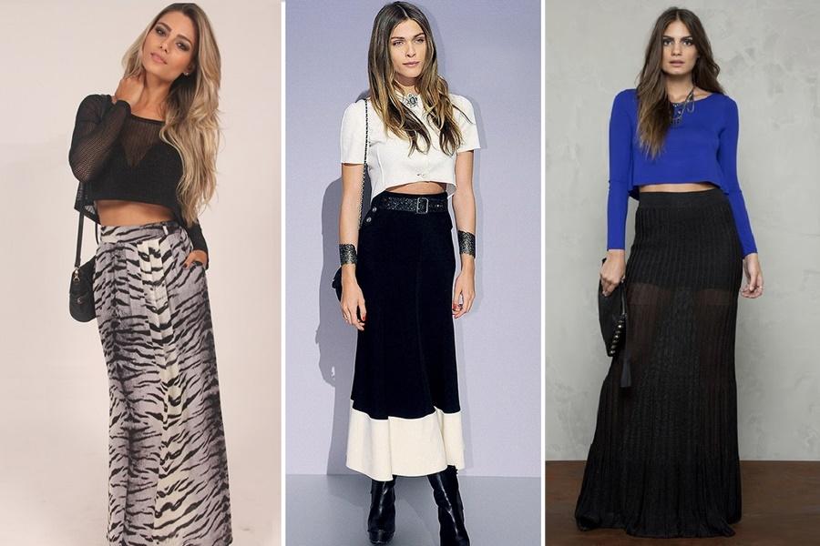 mulheres vestindo saias longas e cropped