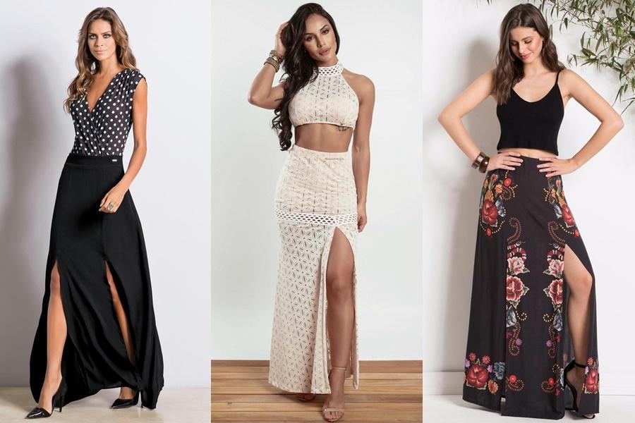 três modelos de saia longa com fenda