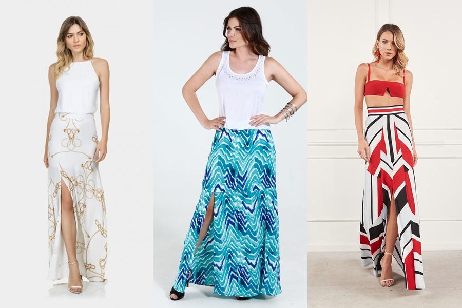 mulheres vestindo saia longa com fenda