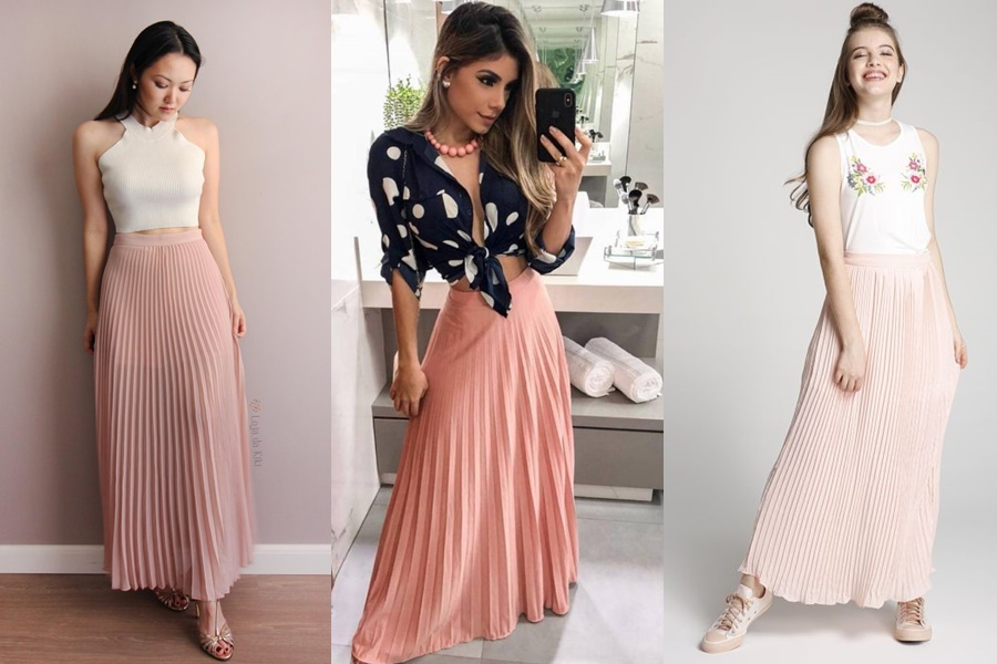 mulheres vestindo saia plissadas cor rose