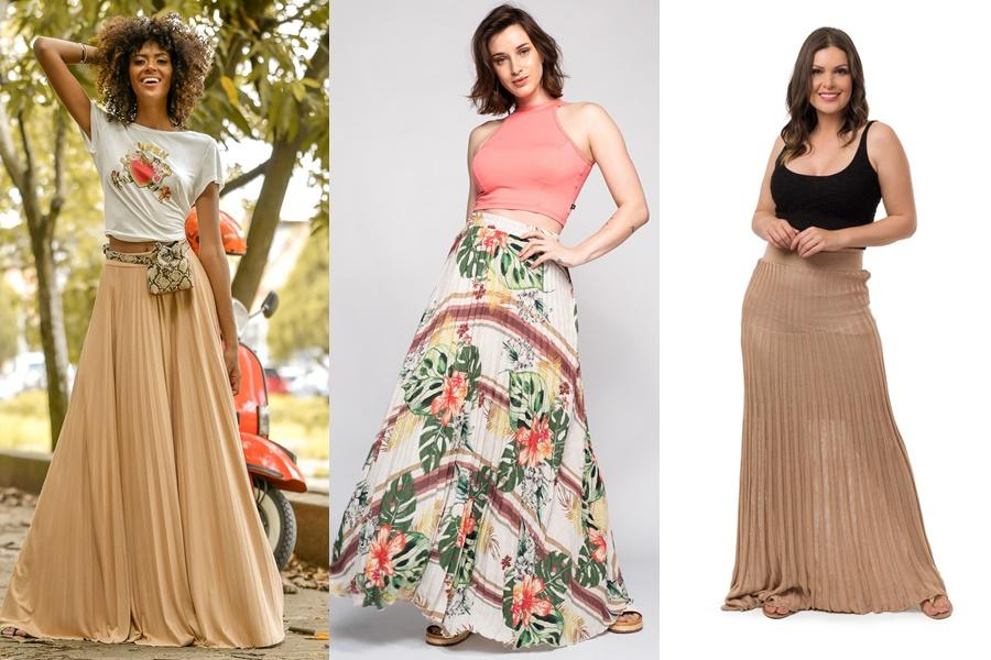 3 exemplos de saias longas plissadas