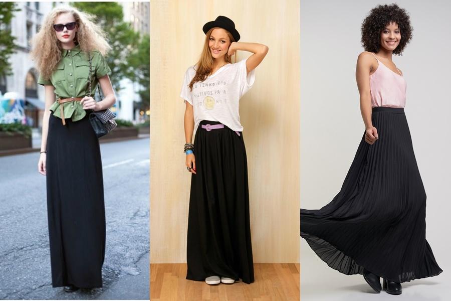 modelos de saias longas pretas