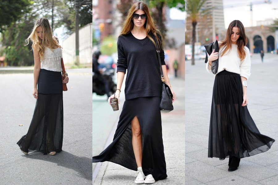 mulheres vestindo saia longa na cor preta