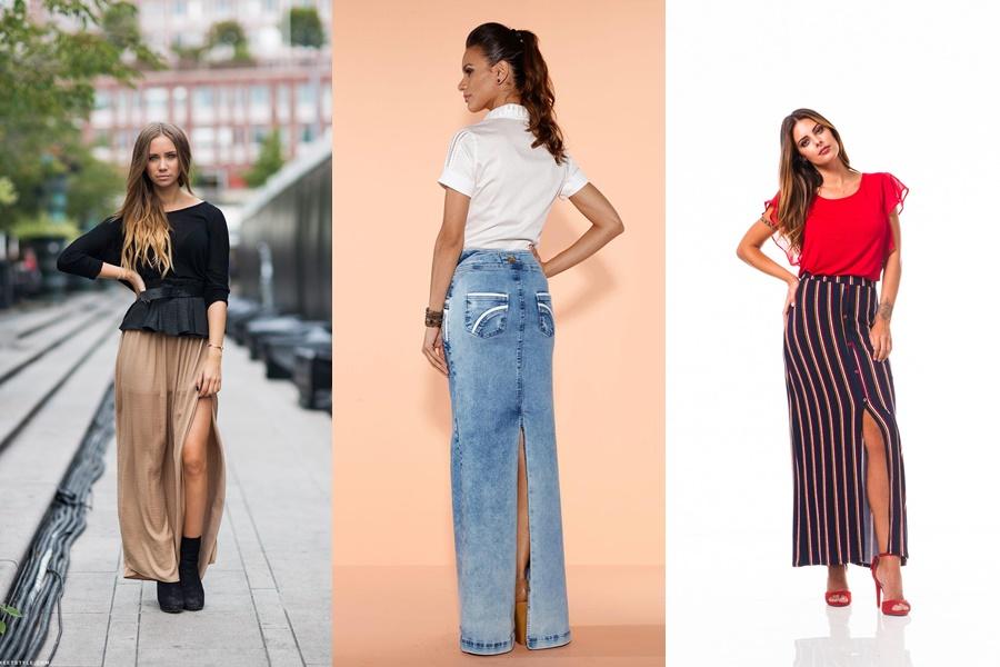 3 exemplos de mulheres vestindo modelos de saias longas com  fenda
