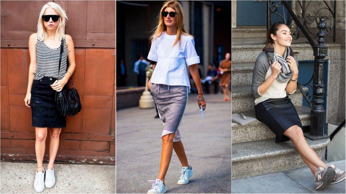 alguns modelos de saia lápis com tênis