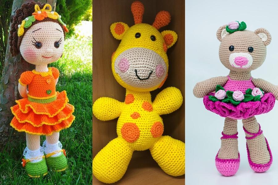 amigurumi de boneca , urso e girafa