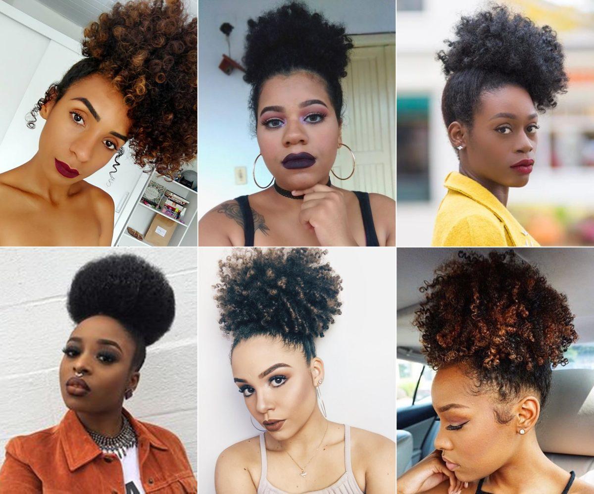 inspirações de coque puff para cabelo afro