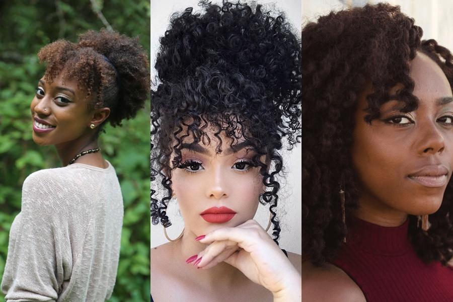 cabelo afro com franja