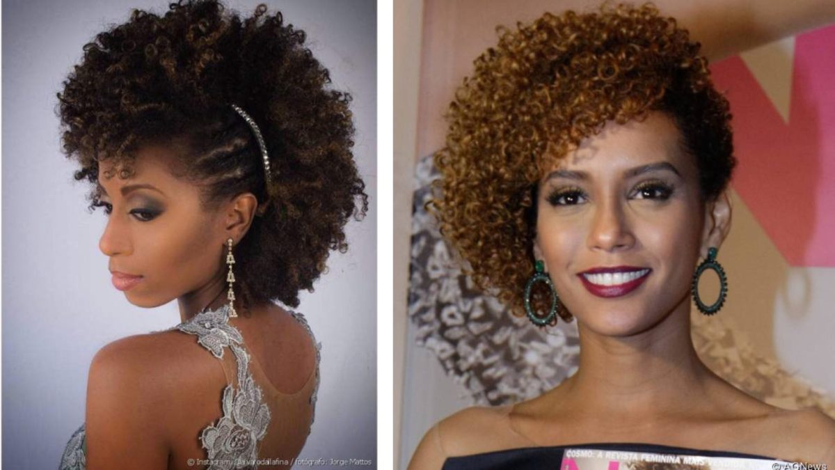 modelos de penteados de cabelo afro preso de lado