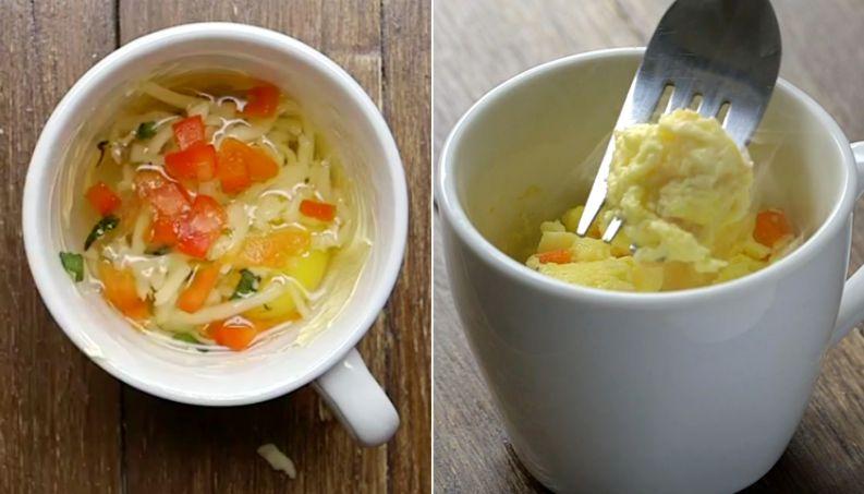 imagem de omelete na xícara para fazer no micro-ondas