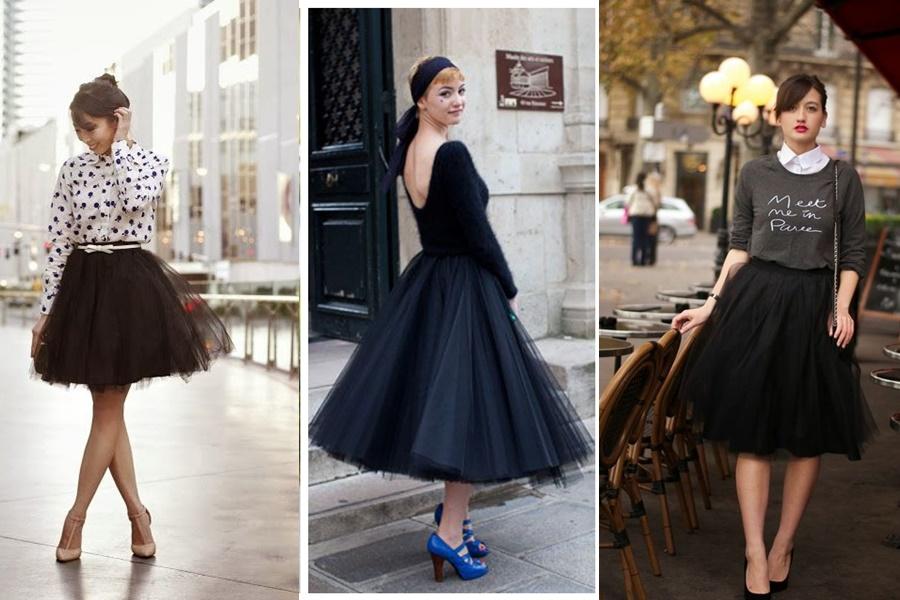 mulheres vestindo saia de tule preta