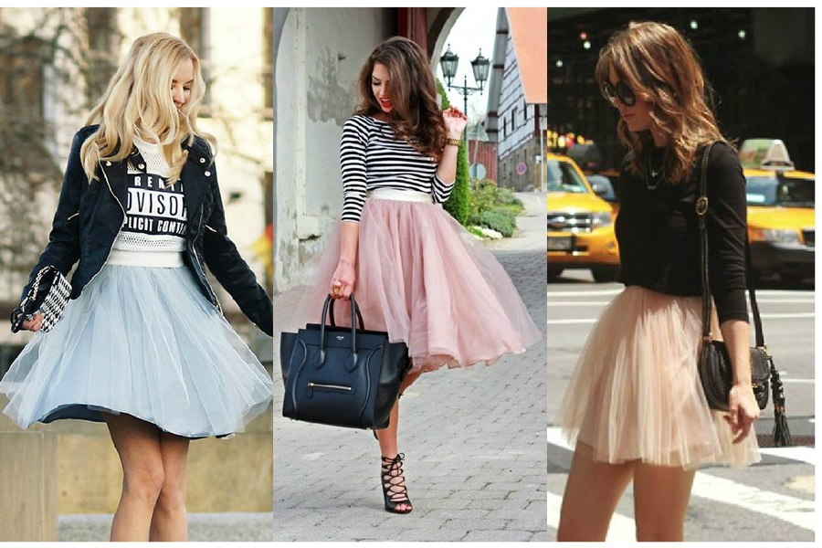 mulheres vestindo looks diferentes de saia de tule
