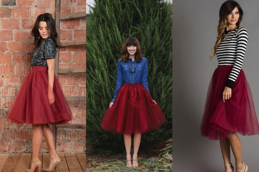 mulheres usando saia de tule vermelha