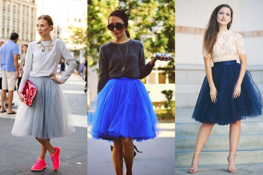 modelos saia de tule azul e cinza