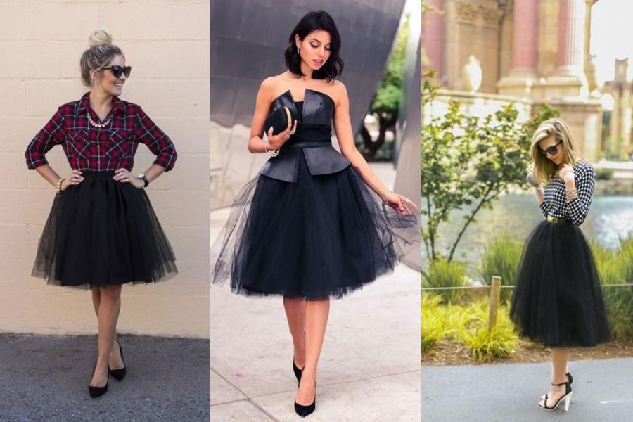 modelos de look com saia de tule preta