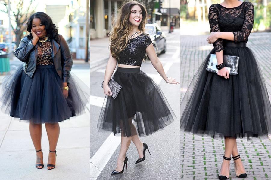modelos de saia de tule preta