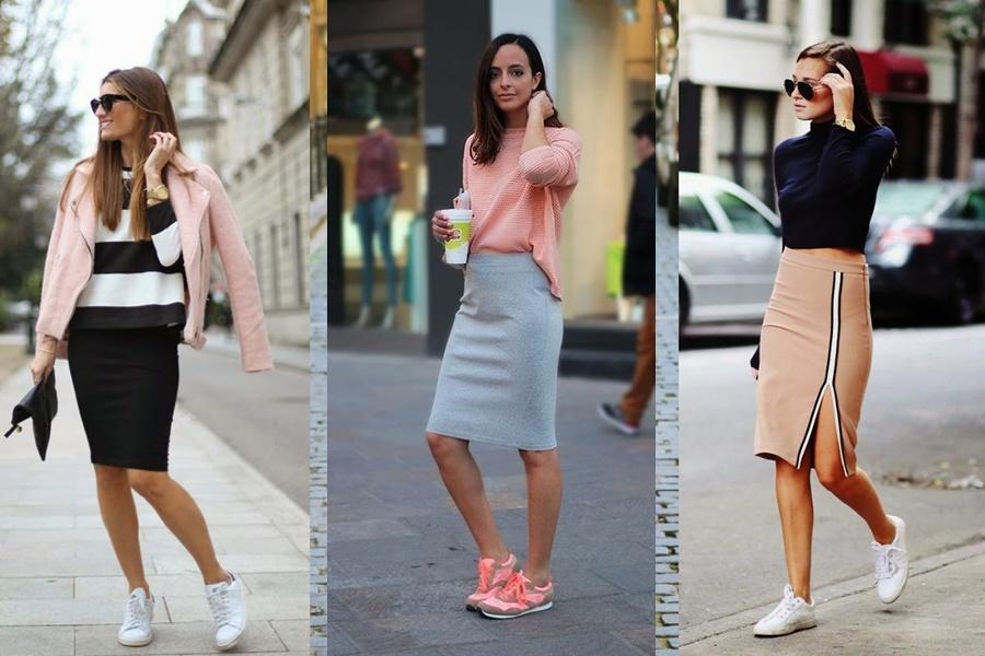 exemplos de mulheres com looks que levam saia lápis com tênis