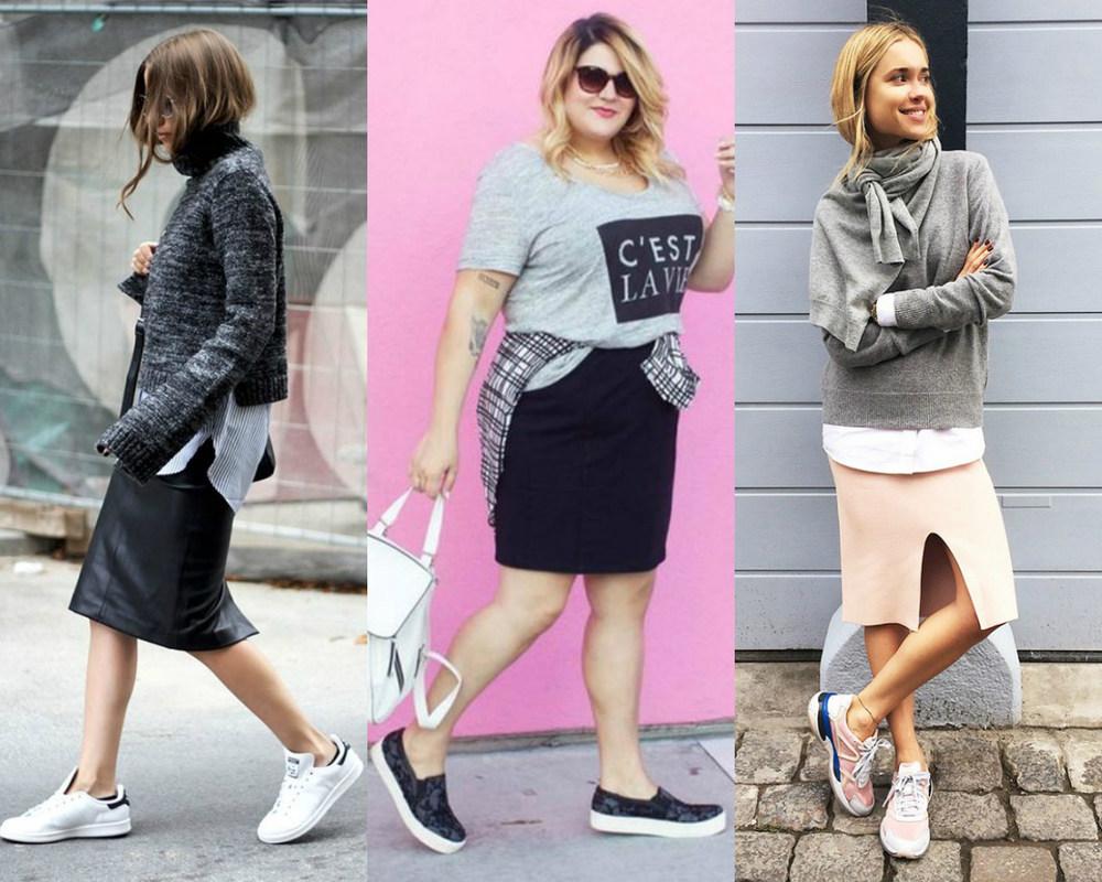 modelos de meninas usando saia lápis com tênis