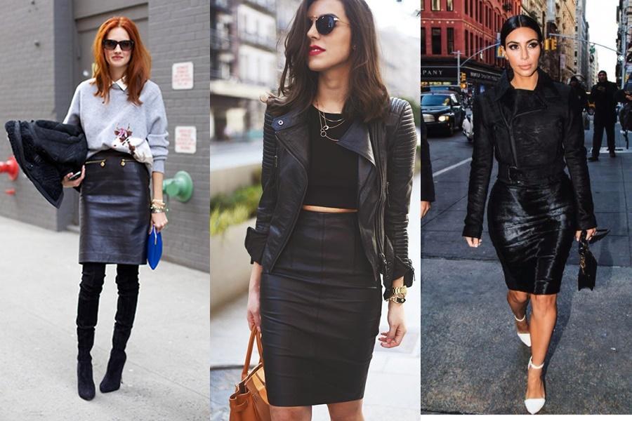 mulheres vestindo saia lápis de couro