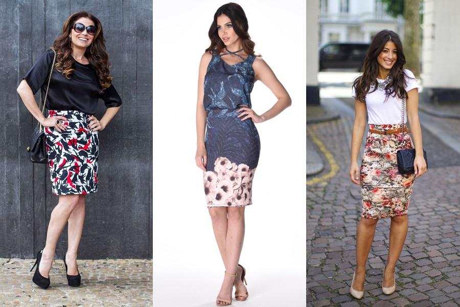 3 mulheres usando modelos diferente de saia lapis estampada