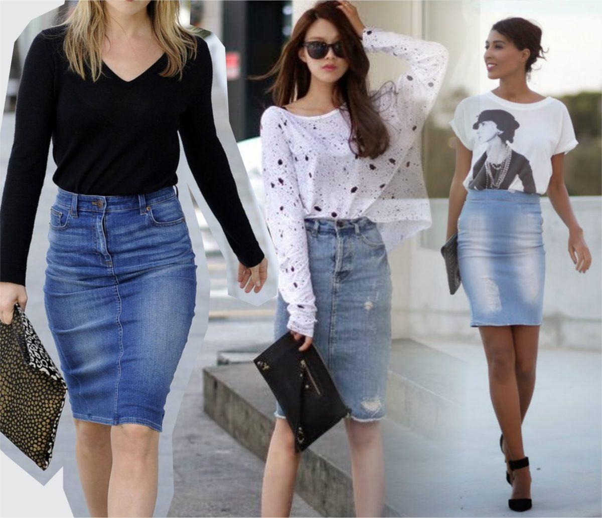 modelos de saia lápis jeans