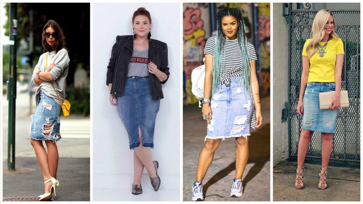 alguns modelos de saia lápis jeans