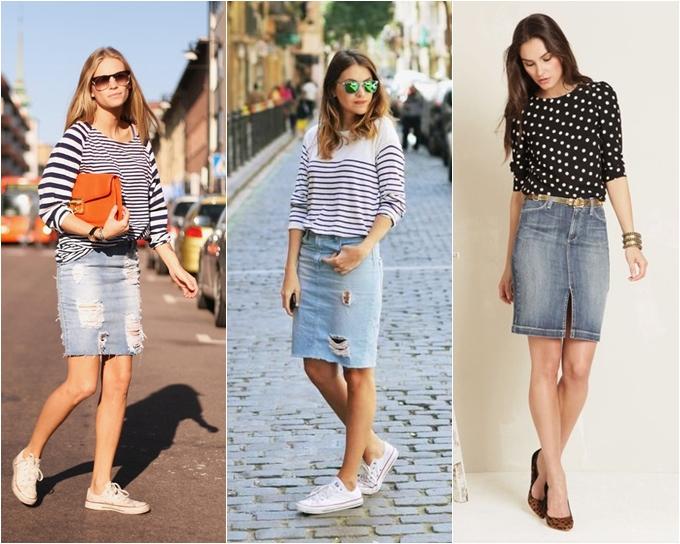 3 mulheres vestindo saia lápis jeans com blusas listradas e estampadas