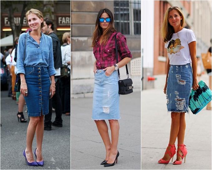 mulheres vestindo saia lápis jeans