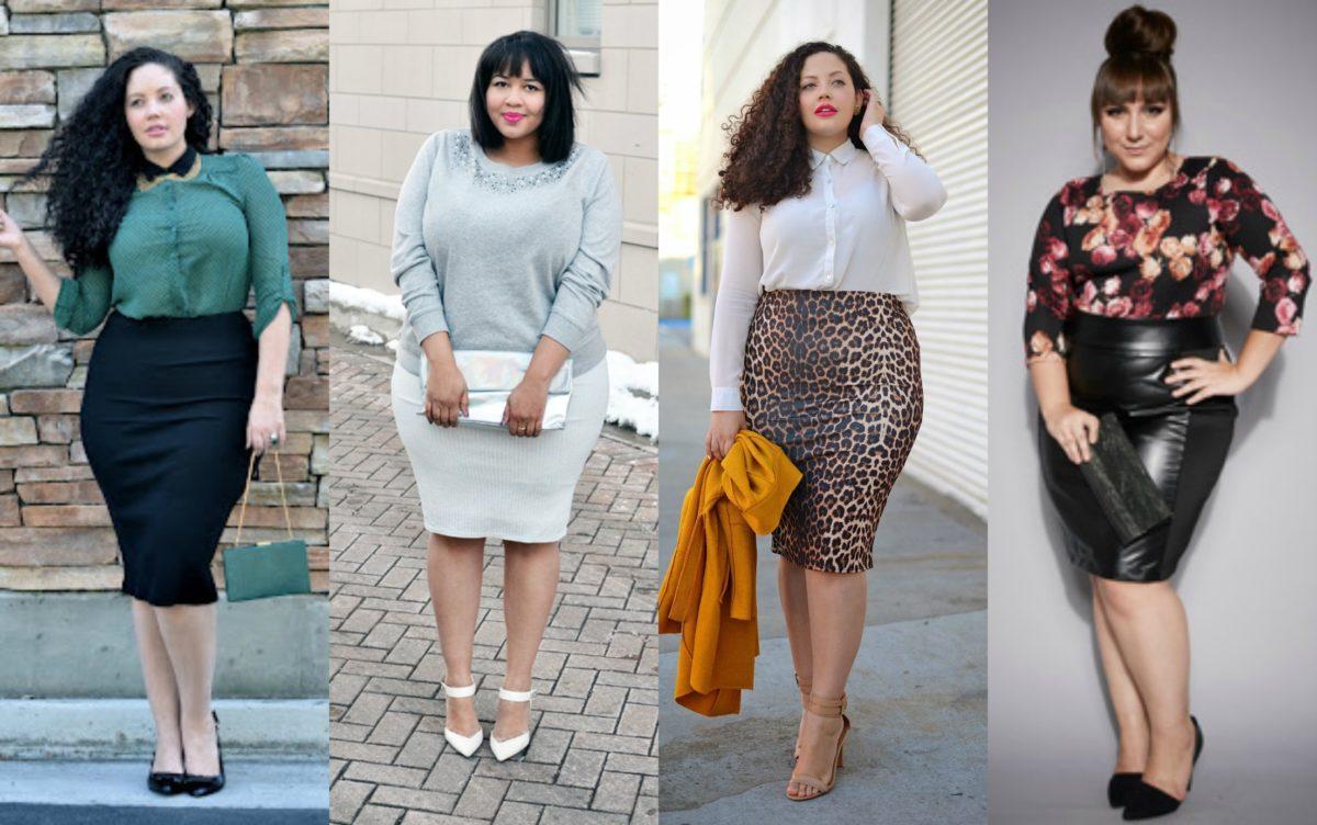 modelos plus size de saia lapis