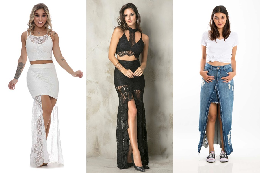 3 exemplos de saias longas abertas na frente