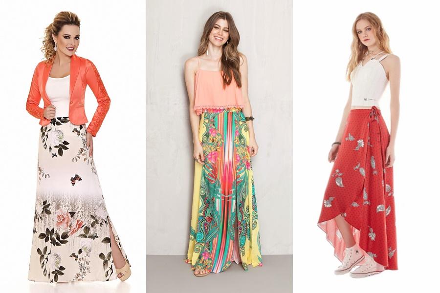 mulheres vestindo saias estampadas