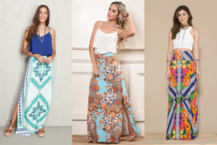 exemplos de modelos de saias longas estampadas