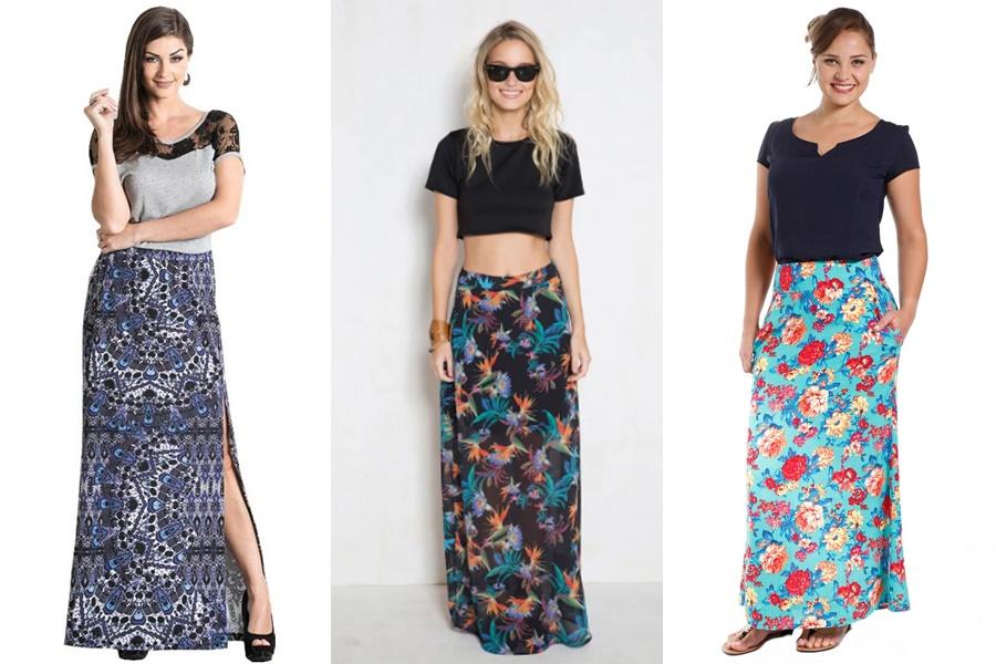 3 exemplos de mulheres vestindo saias estampadas