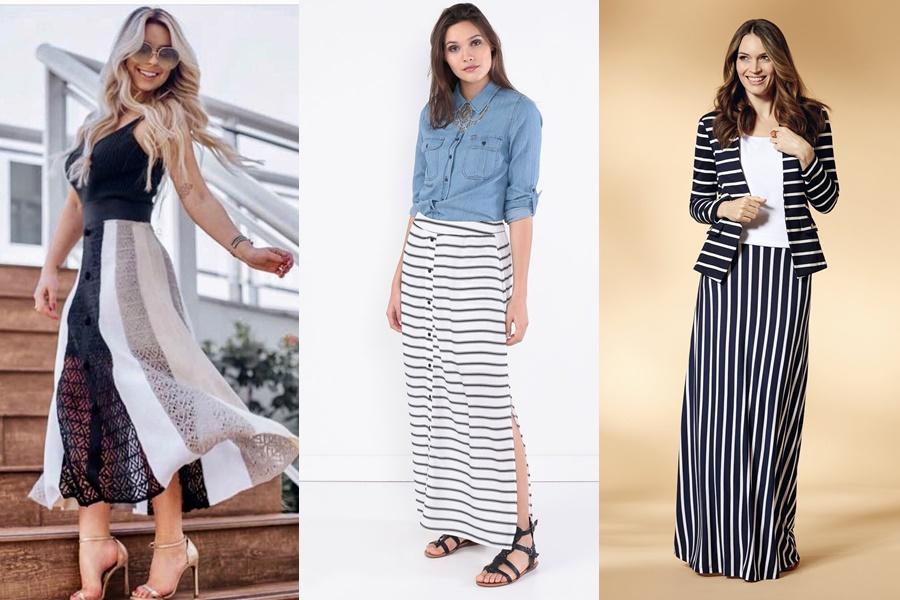 modelos de saia longa listrada