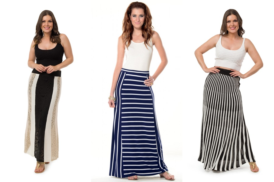 3 mulheres vestindo saias longas listradas