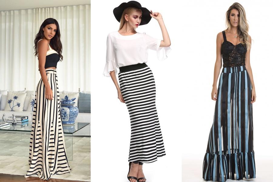 3 exemplos de saias longas listradas