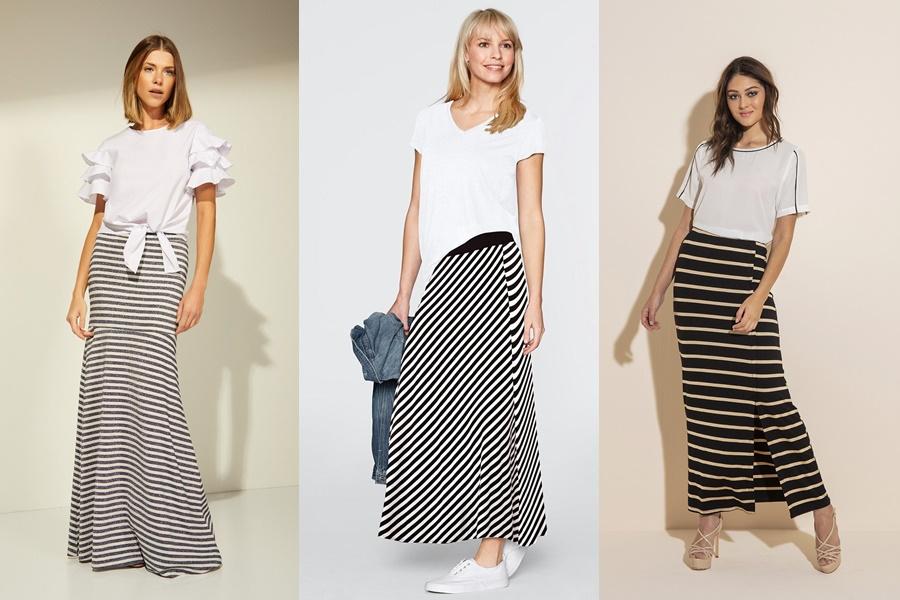 modelos de saias longas listradas