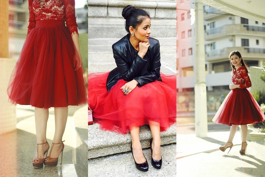 mulheres vestindo saia de tule vermelha