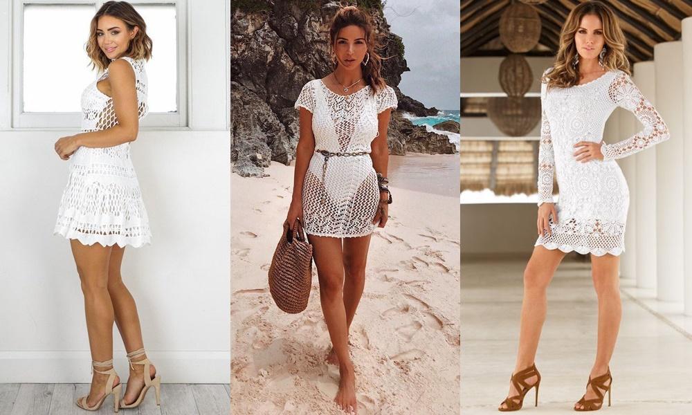 vestido de crochê branco curto