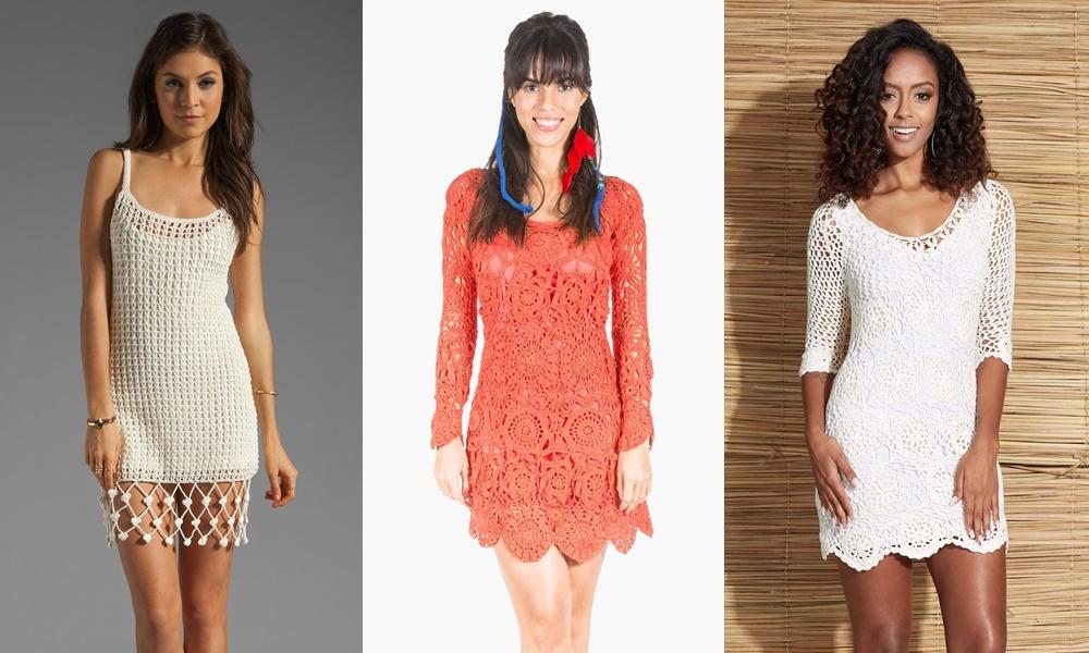 vestidos de crochê branco e laranja
