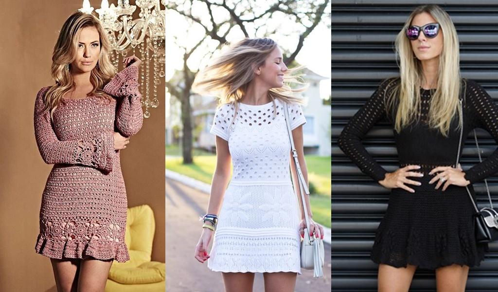 3 mulheres com vestido de crochê curto