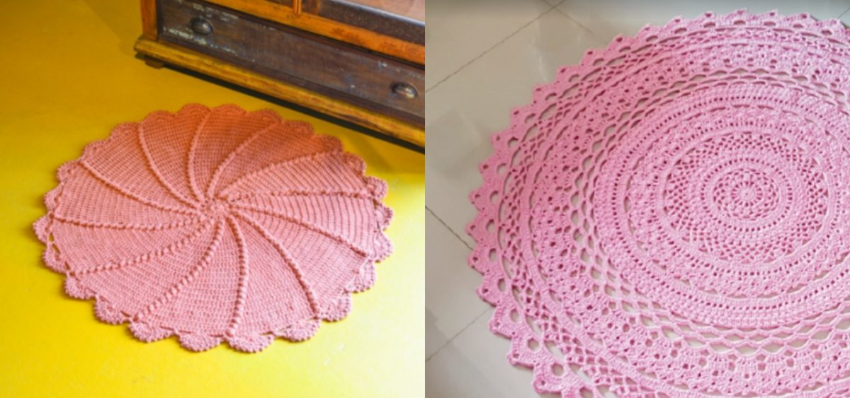 crochê redondo cor rosa
