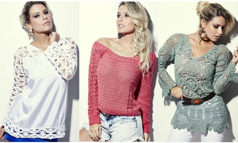 blusas de crochê branca e colorida