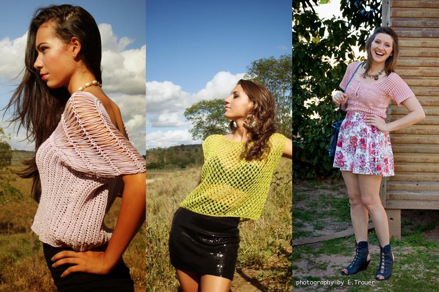 3 exemplos de meninas usando blusas de crochê