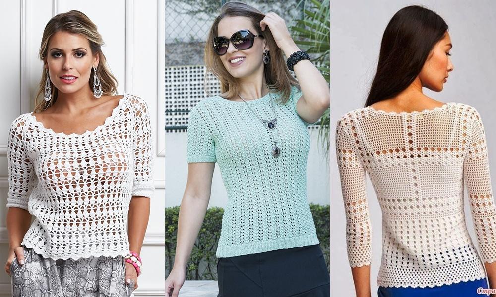 modelos de blusa de crochê com manga