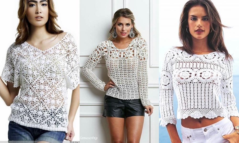 3 mulheres com blusas de crochê com manga