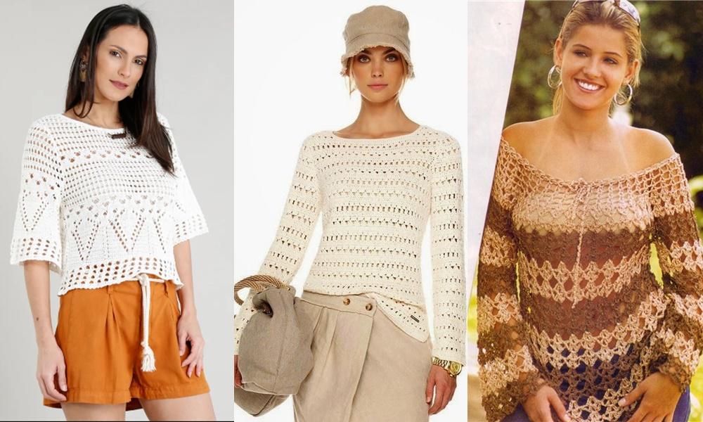 estilos diferentes de blusas de crochê