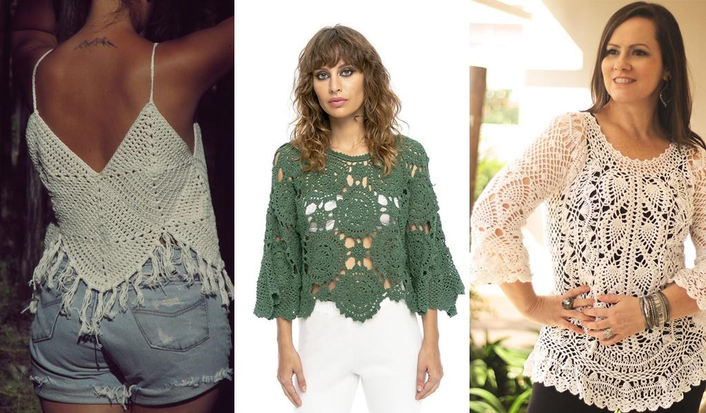 modelos de blusas de crochê